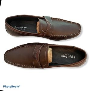BACCO BUCCI Leather Slip-on Driving Shoes Loafers